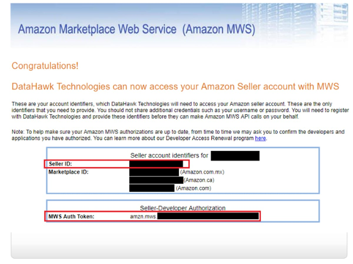 DataHawk Technologies ft Amazon MWS
