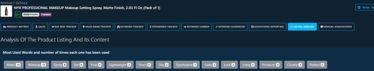 DataHawk Amazon product listings analysis tool