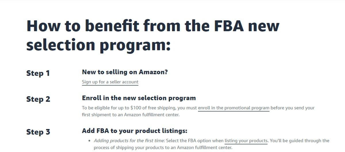 FBA NEW SELECTION PROGRAM