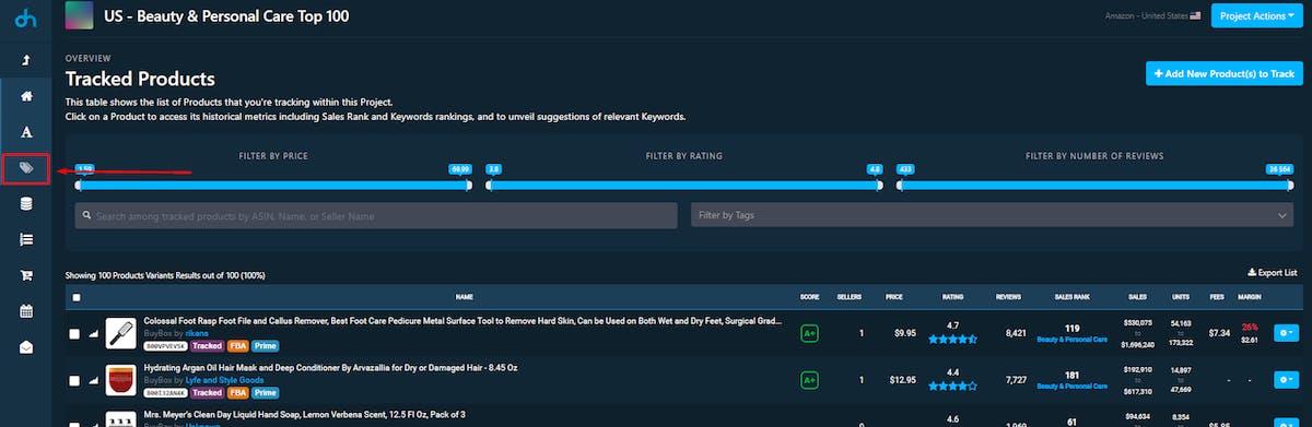 DataHawk App Tracked Product