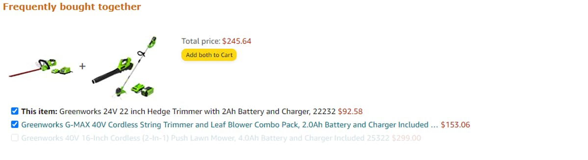 Features on Amazon's Freqently Bought Together section