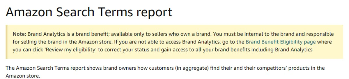 Amazon Search Term Report