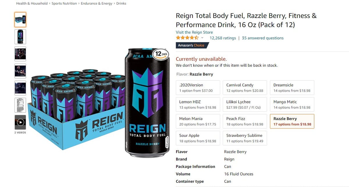 Amazon Best Seller Analysis: Energy Drinks