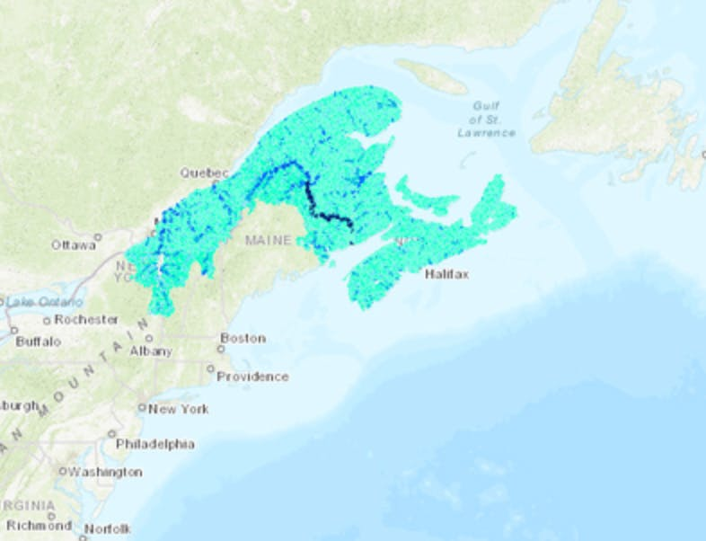 screen shot of NCC stream and river classification layer over the Northern Appalachian – Acadian Region of Canada