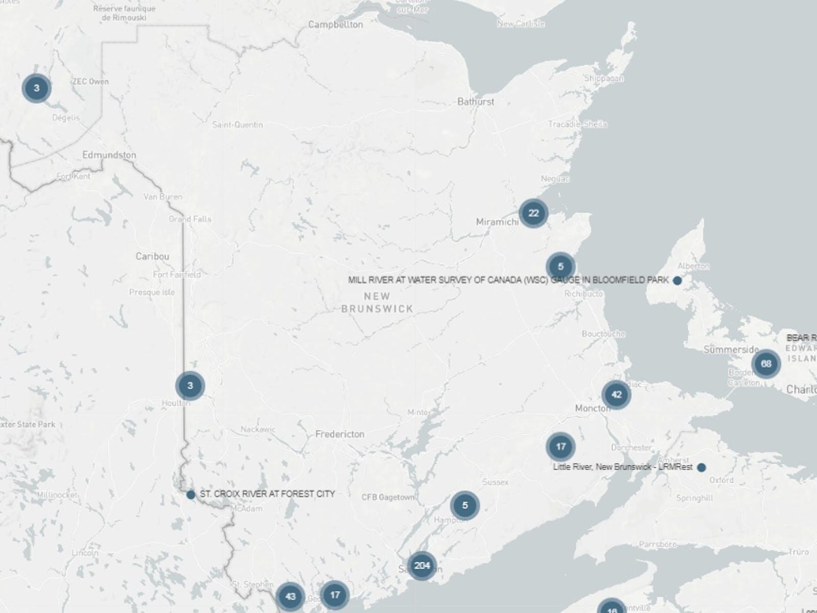 Screenshot of locations in Atlantic DataStream