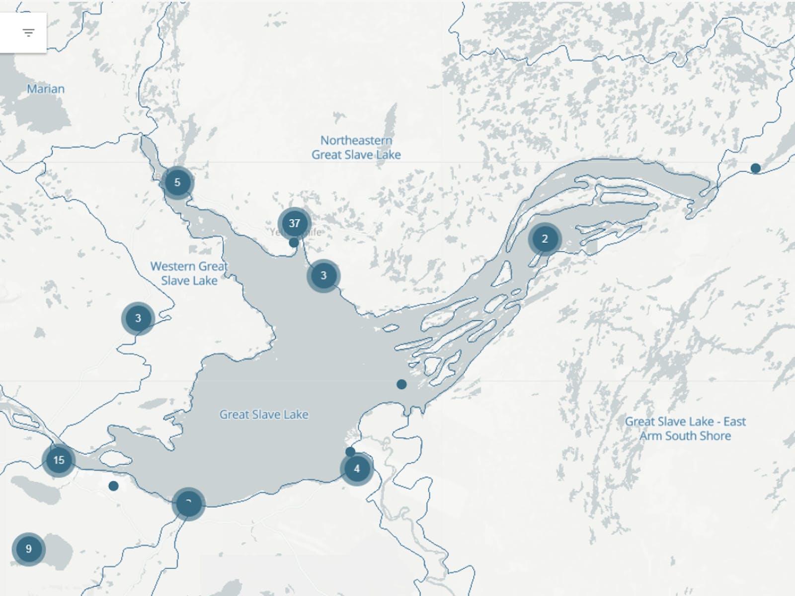 Monitoring Sites surrounding Great Slave Lake