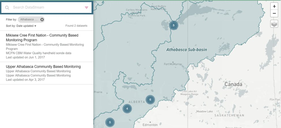 screenshot of the datasets displayed in a watershed searched for on the datastream map