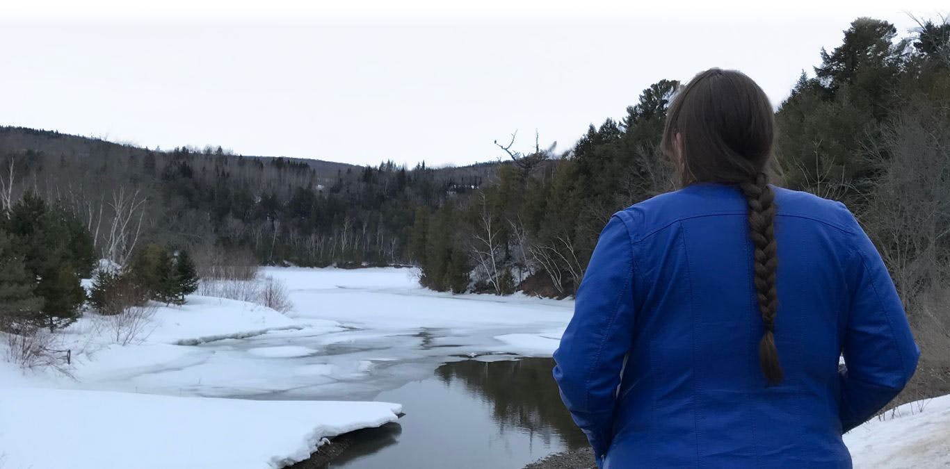 Atlantic Water Network Director Emma Wattie overlooking an icy river