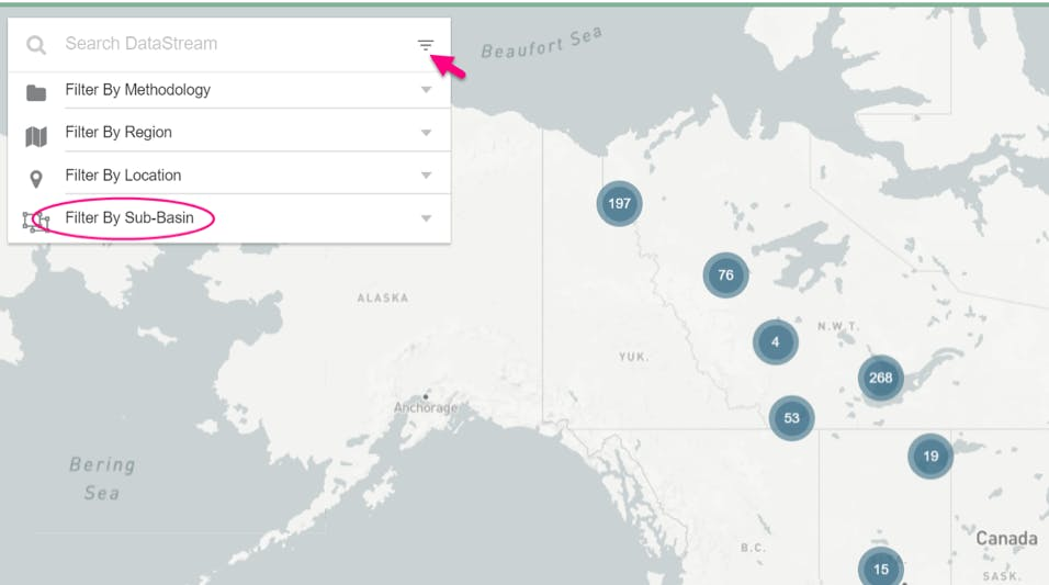 Screenshot of the search feature on the datastream map highlighting the filter by sub-basin feature