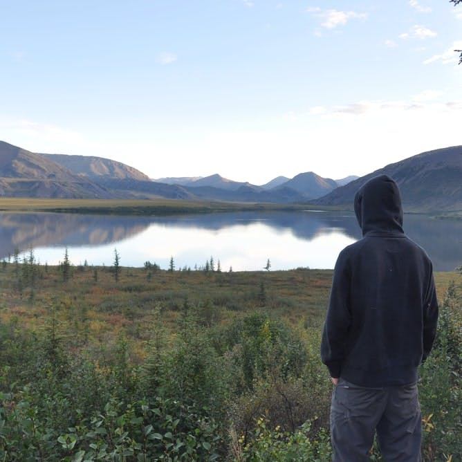 person staring out over horn lake in the northwest territories