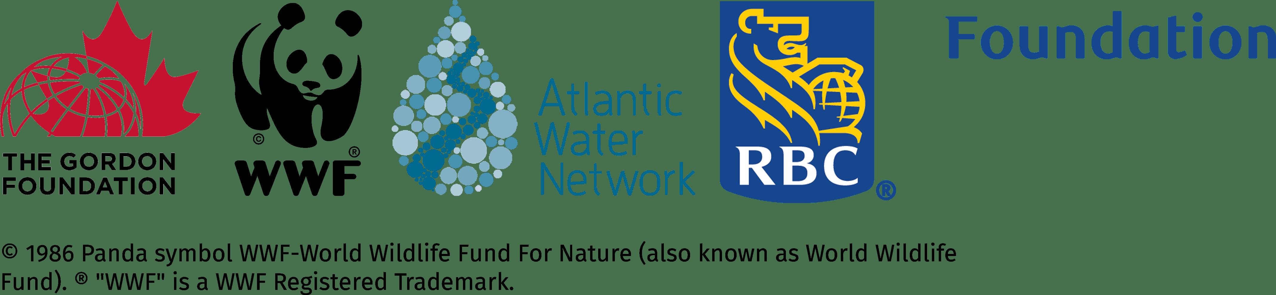 Logos for The Gordon Foundation, World Wildlife Fund, Atlantic Water Network and RBC Foundation