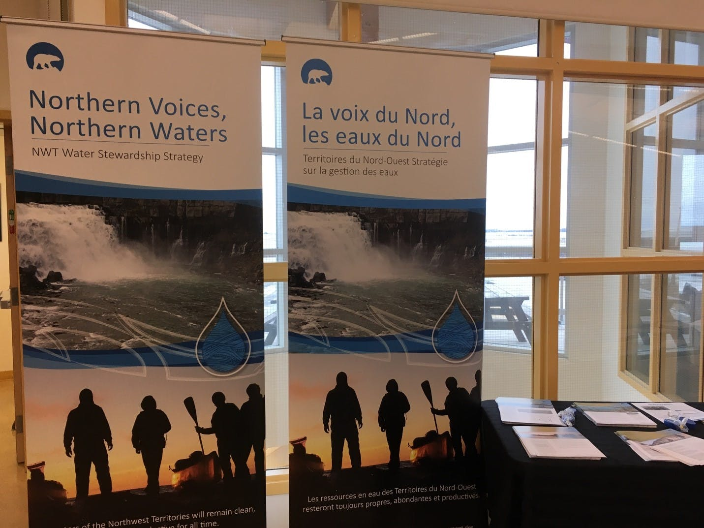Banners displaying Northern Voices, North Waters: NWT Water Stewardship Strategy