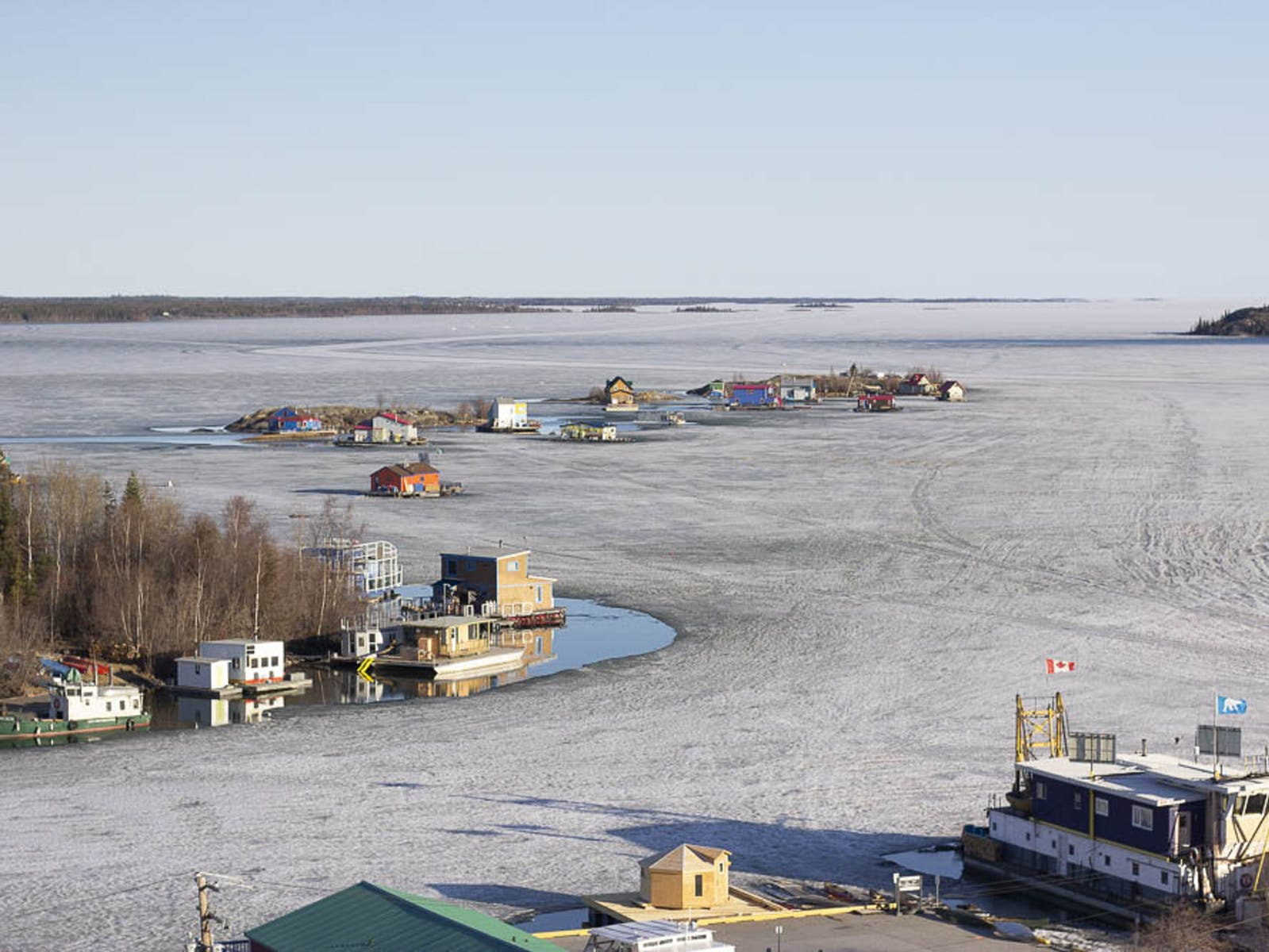Houseboats frozen in the lake in Yellowknife