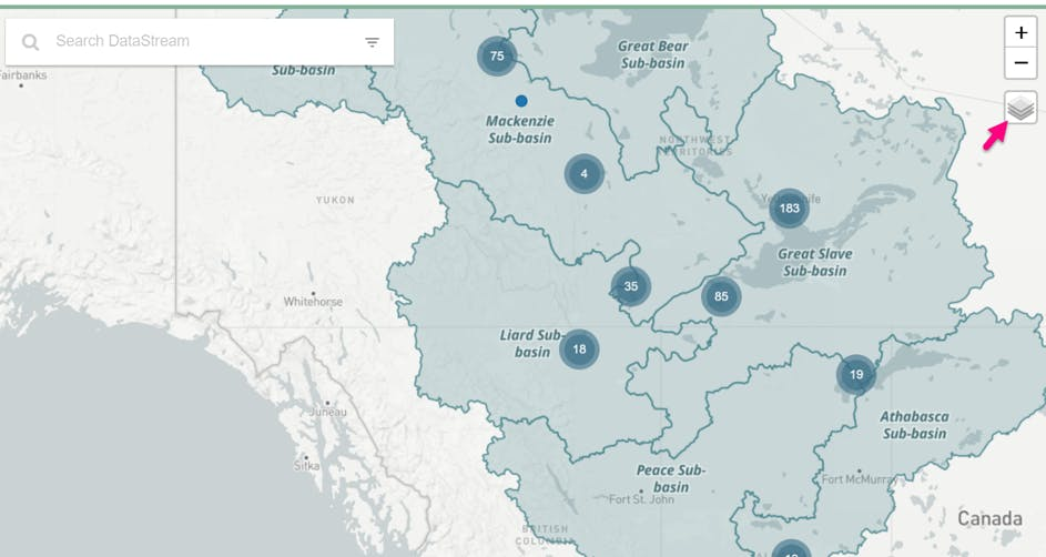 screenshot of sub-basin watershed layers activated on the datastream map