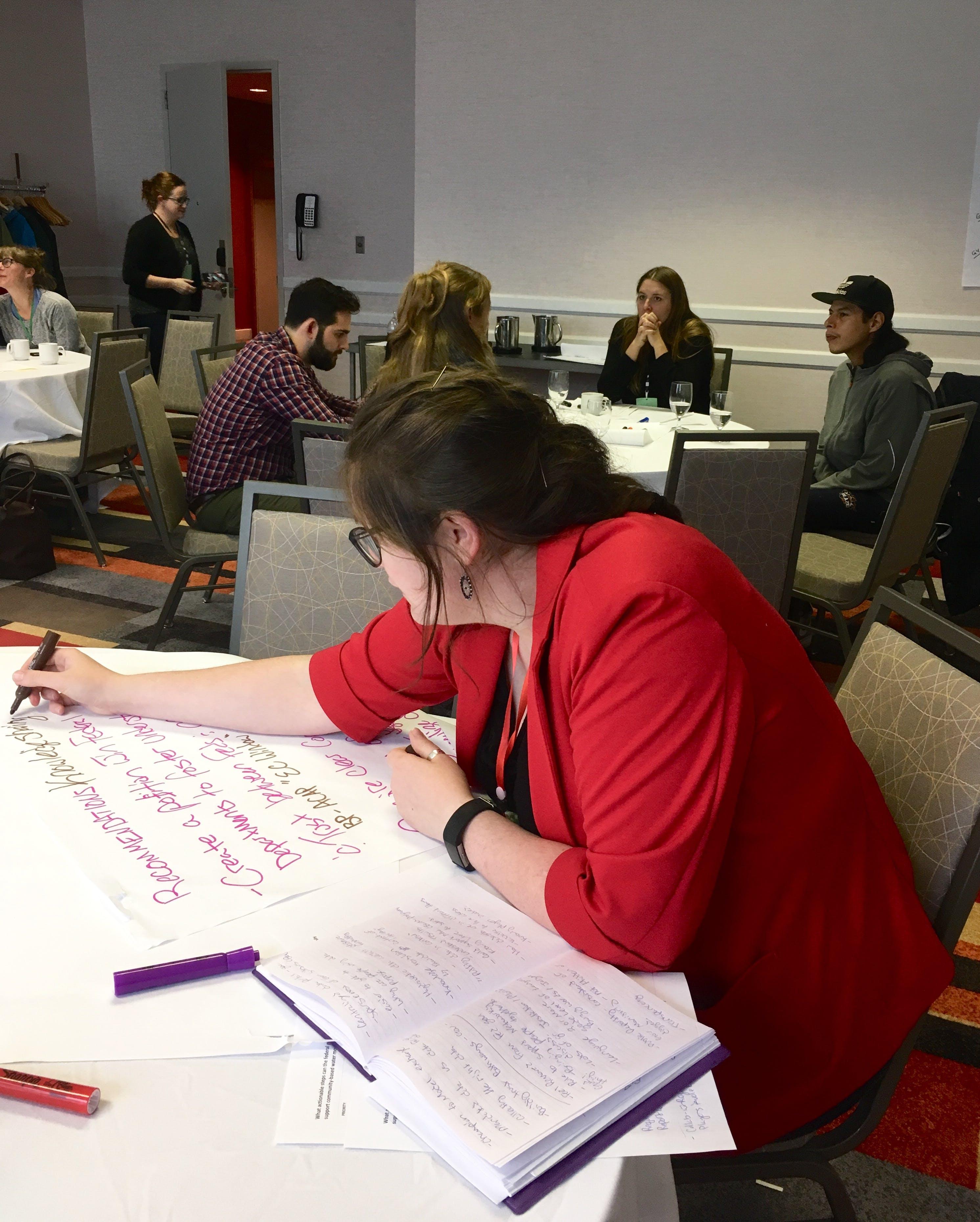 Emma hard at work transcribing recommendations