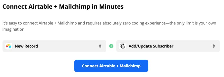 Using Zapier to connect Airtable and Mailchimp