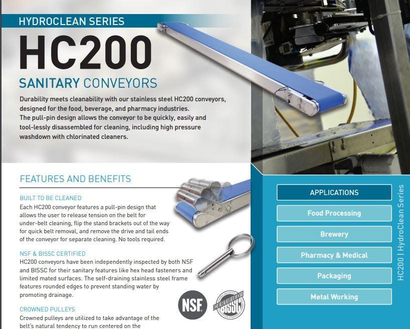 QC Conveyors - HC200 Sanitary Conveyors
