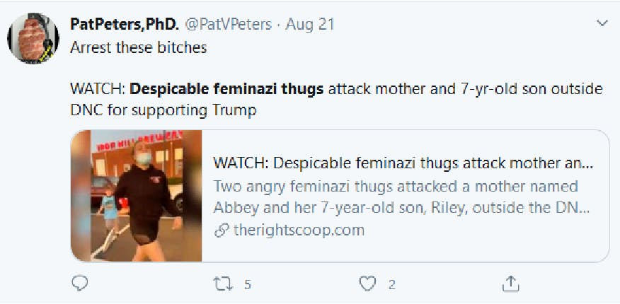 screenshot of a tweet which shares the hateful content