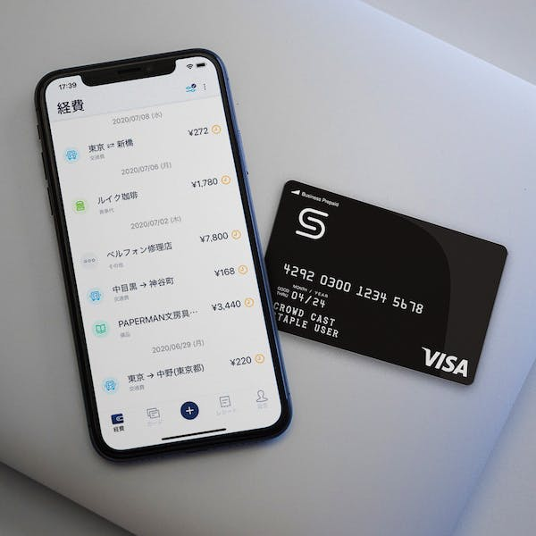 staple card with smartphone