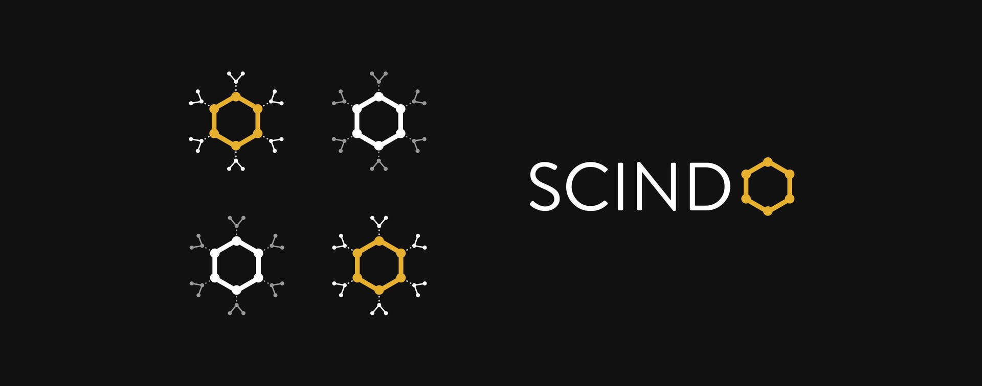 Scindo logo and benzene structure symbol
