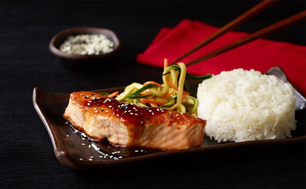 Seared Atlantic Teriyaki Salmon with Rice at Mian