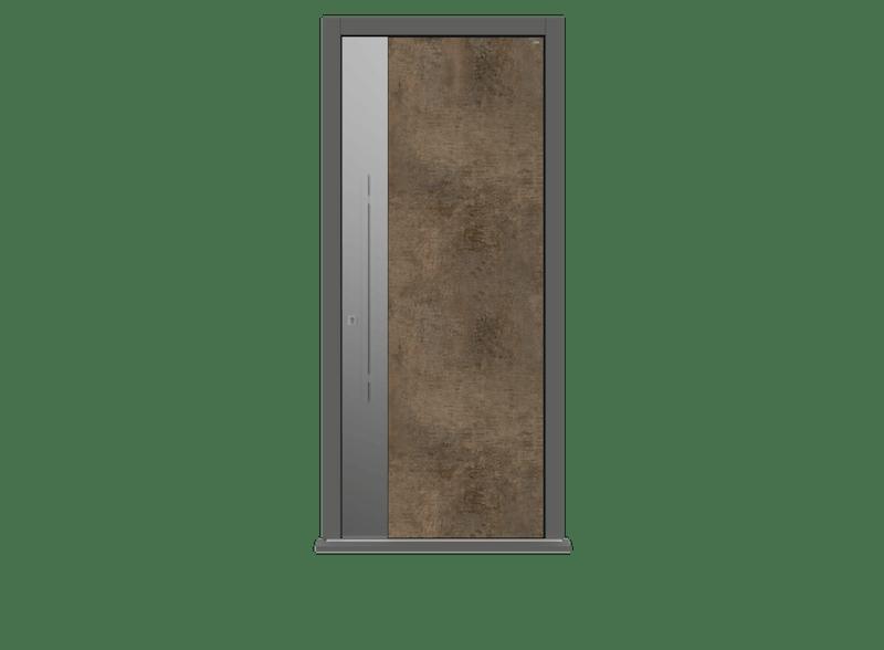 Patina Bronze Single leaf front door - Olivo S by Deuren
