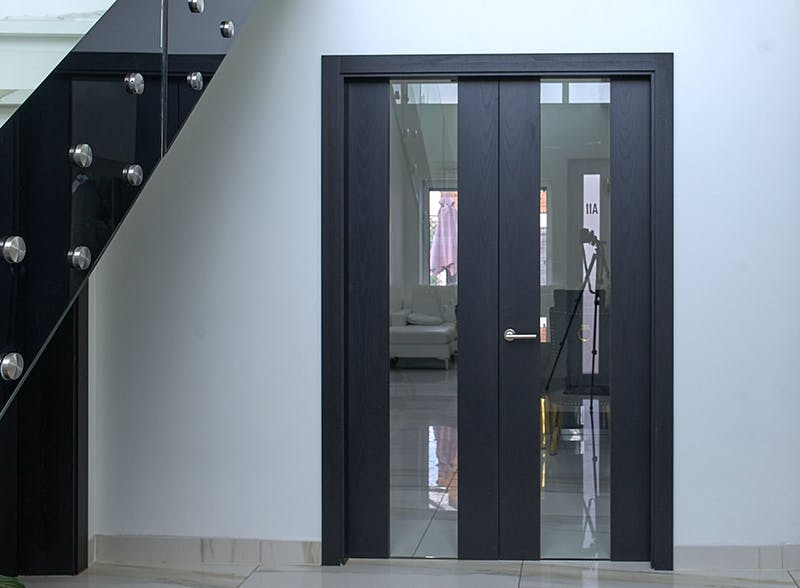 Grey Oak double leaf internal doors - Trem V Glass by Deuren
