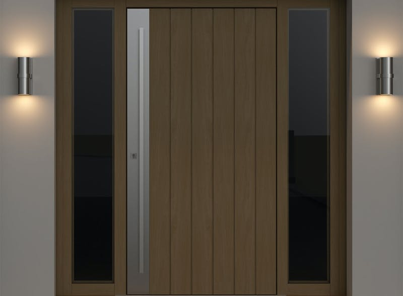 Single leaf front door with two glazed laterals - Pichola VS by Deuren