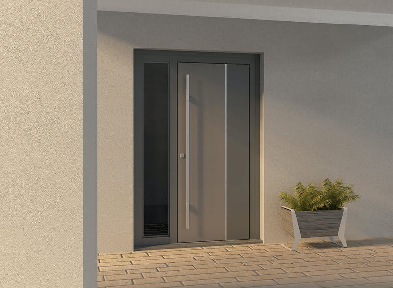 Single leaf front door with glazed lateral - Ness by Deuren