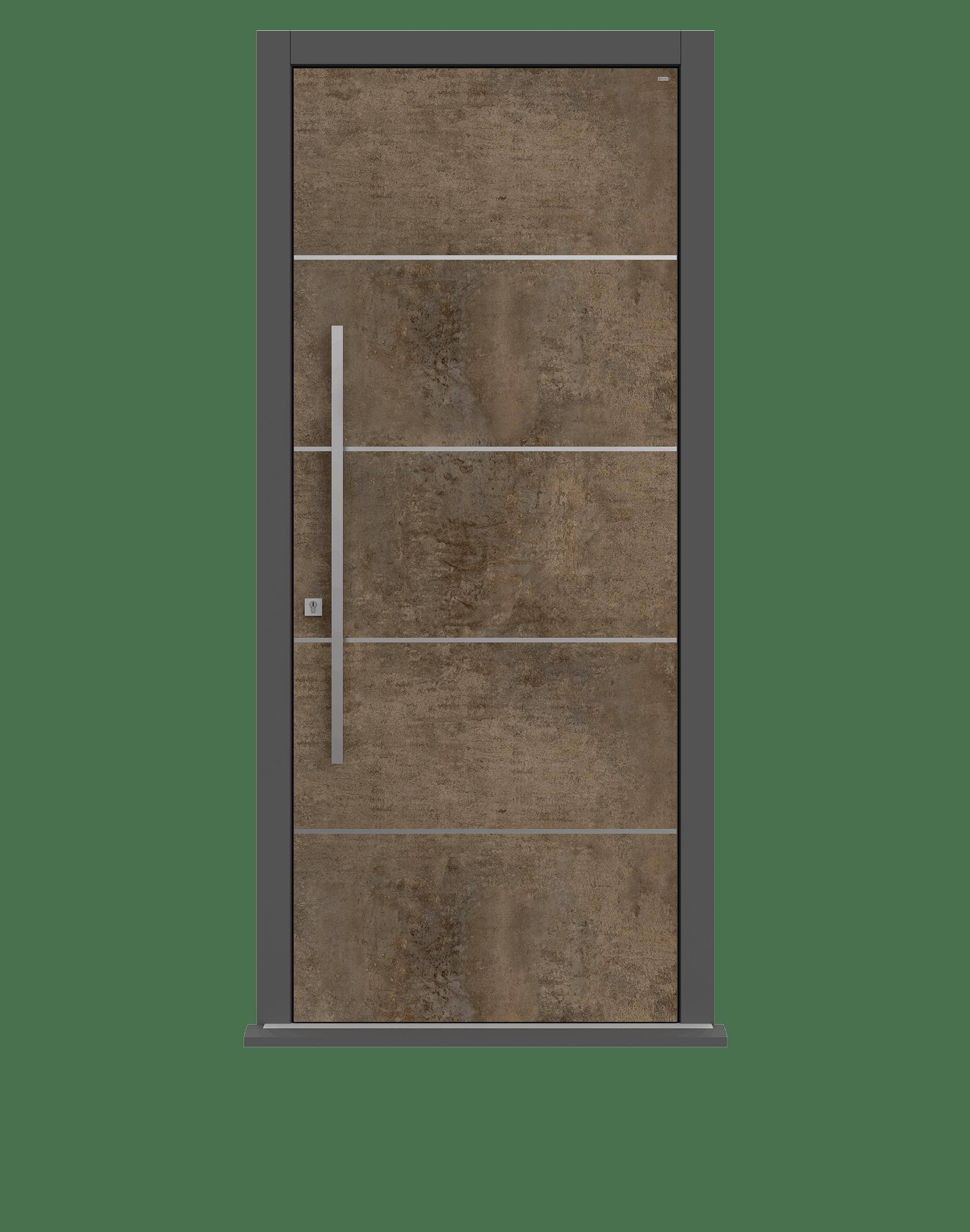 Patina Bronze Single leaf front door - Olivo SI by Deuren