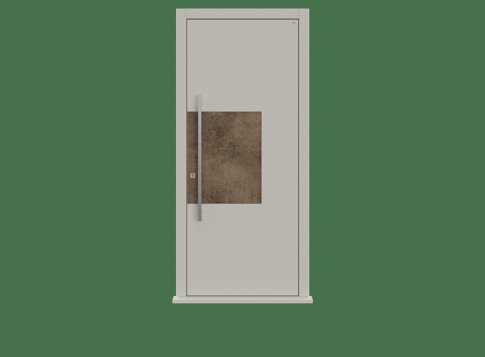 White Ral 9010 Patina Bronze Single leaf front door - Teri by Deuren