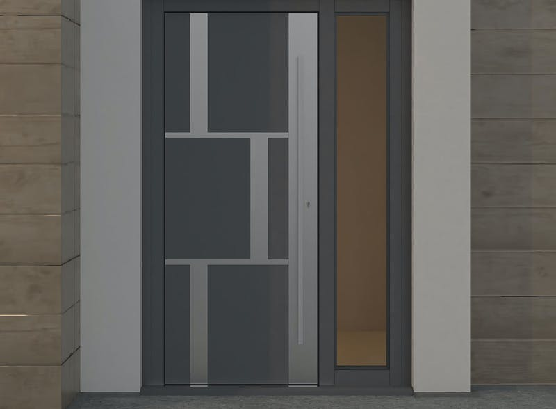 Single leaf front door with single glazed lateral - Tegal SSI by Deuren