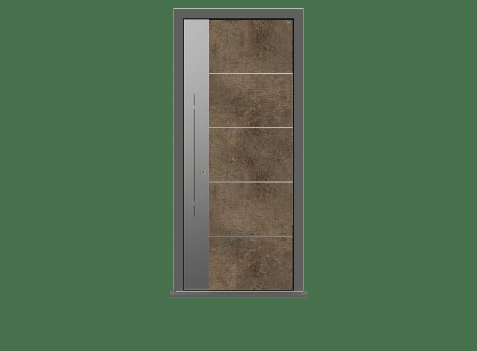Patina Bronze Single leaf front door - Olivo SSI by Deuren