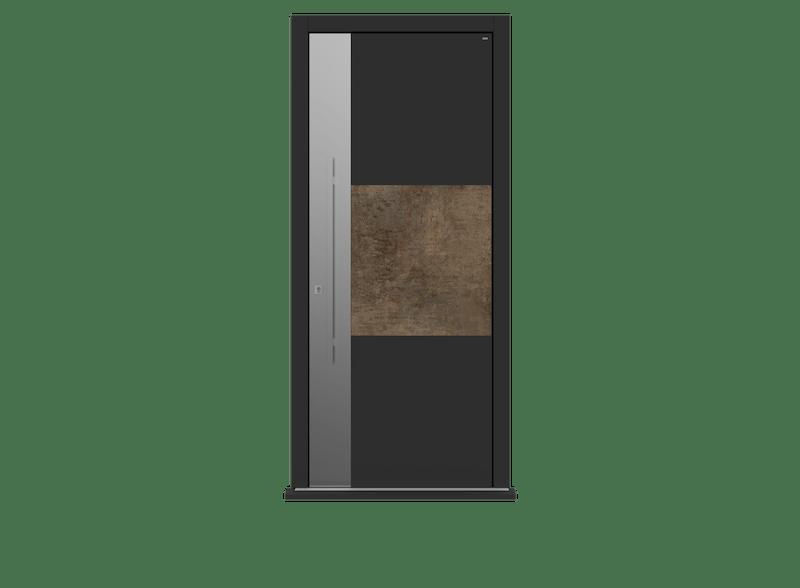 Patina Bronze Single leaf front door - Teri S by Deuren