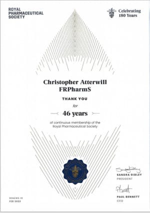 Royal Pharmaceutical Society Certificate for Chris Atterwill