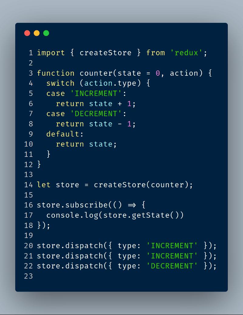 Redux en 22 lineas de código, Encuentra el Gist explicado en http://es.redux.js.org/