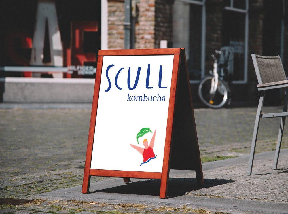 Scull branded sandwich board