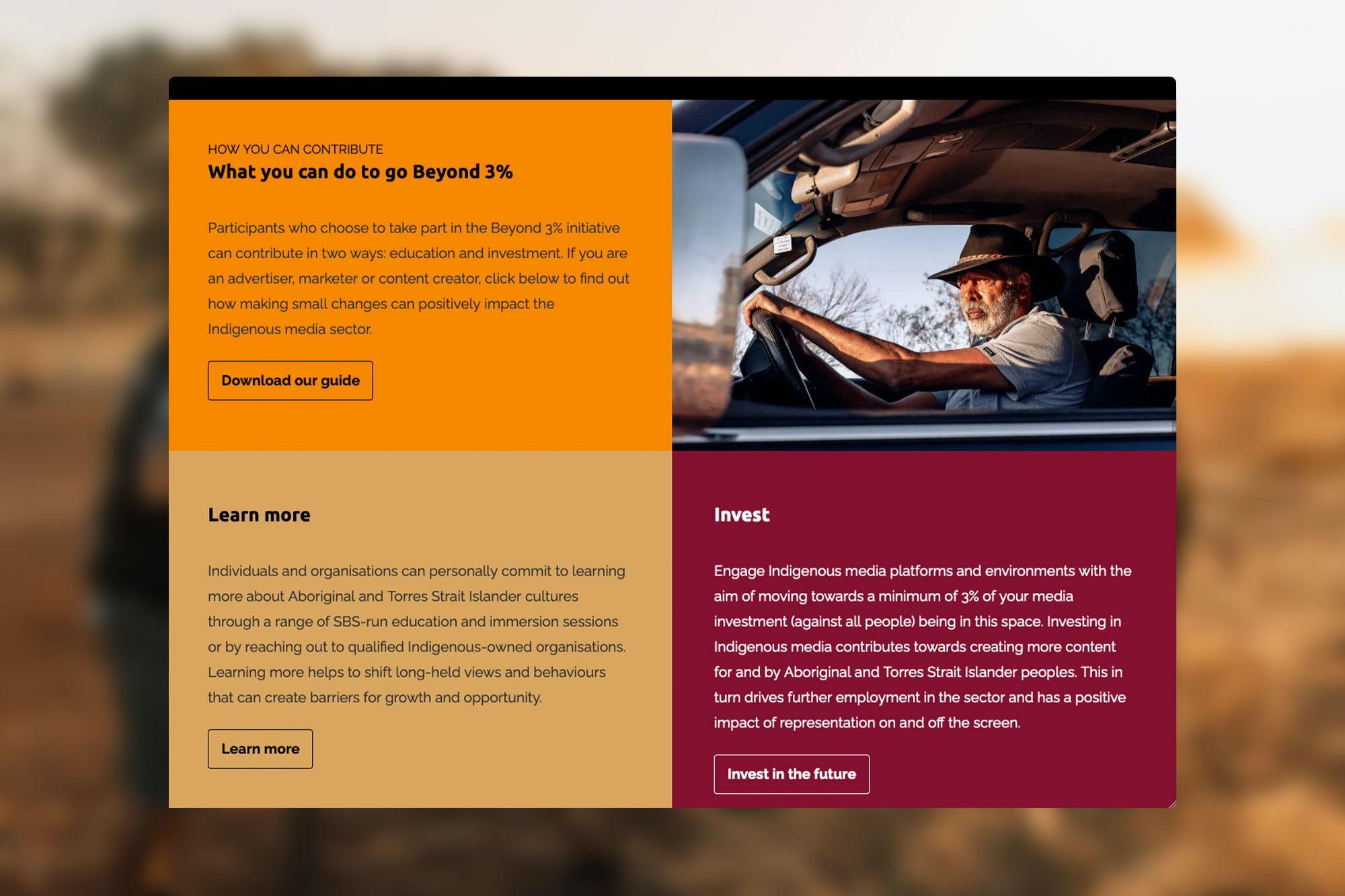 Screenshot of the Beyond Three Percent website
