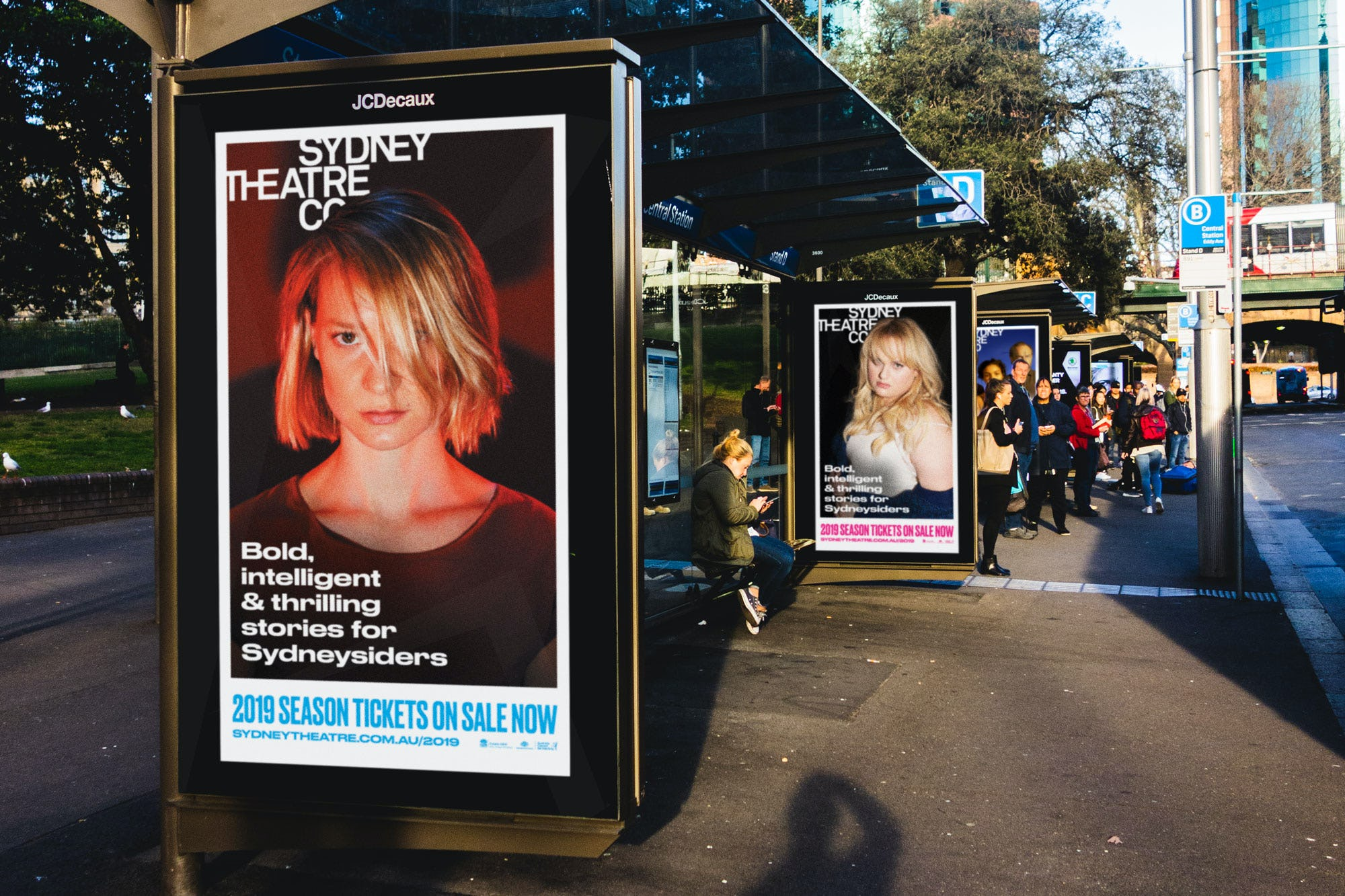 Sydney Theatre Company ads on bus shelters in Sydney