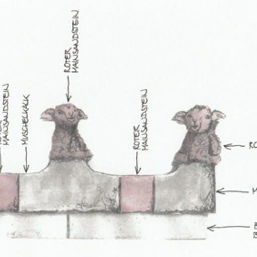 Wettbewerbsarbeit Platzgestaltung in Wiesenfeld, Entwurfszeichnung,  1. Platz mit Auftragserteilung