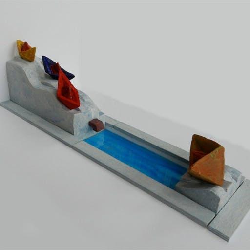 Wettbewerbsarbeit: Wasserskulptur für einen Dorfplatz in Bahra, Entwurfsmodell