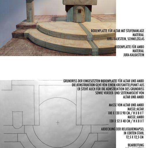 Wettbewerbsarbeit: Altarraumgestaltung, Kath. Kirche St. Michael in Lohr, Neuanfertigung von Altar, Ambo und Sedizien