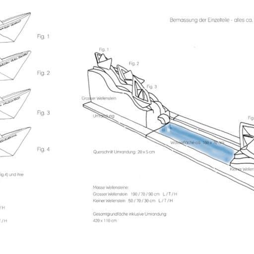 Wettbewerbsarbeit: Wasserskulptur für einen Dorfplatz in Bahra, Entwurfszeichnung