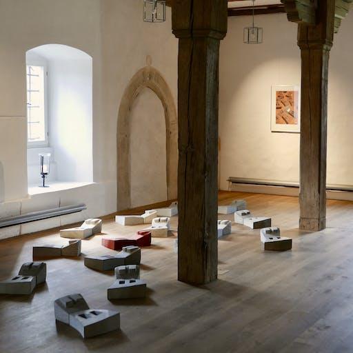 """Blick in die Ausstellung """"unfinished spaces"""", Kloster Wechterswinkel"""