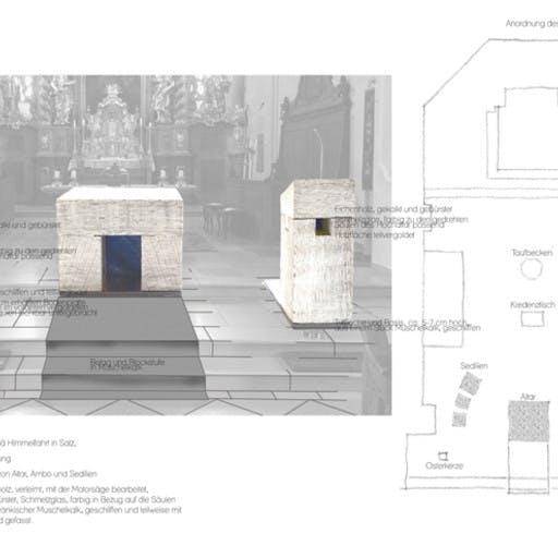 Wettbewerbsarbeit: Altarraumgestaltung, Kath. Kirche Mariä Himmelfahrt in Salz; Neuanfertigung von Altar, Ambo und Sedizien