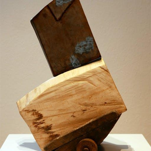 Kniende Figur auf Wagen, Holz, Stahl, Eisenguss, Filz