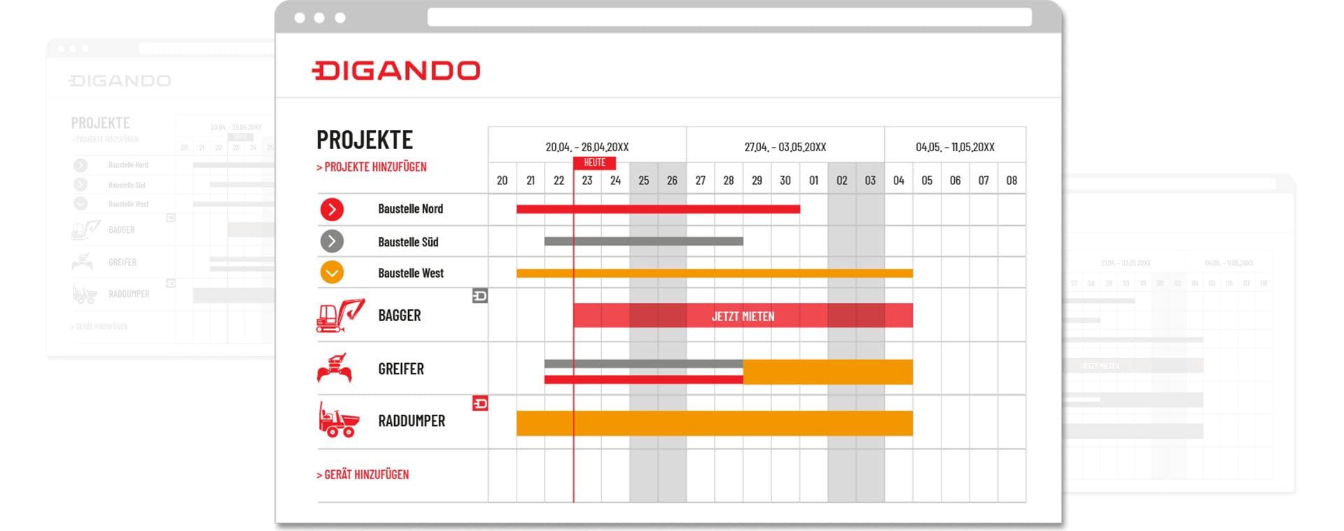 screenshot von software zur disposition von baumaschinen
