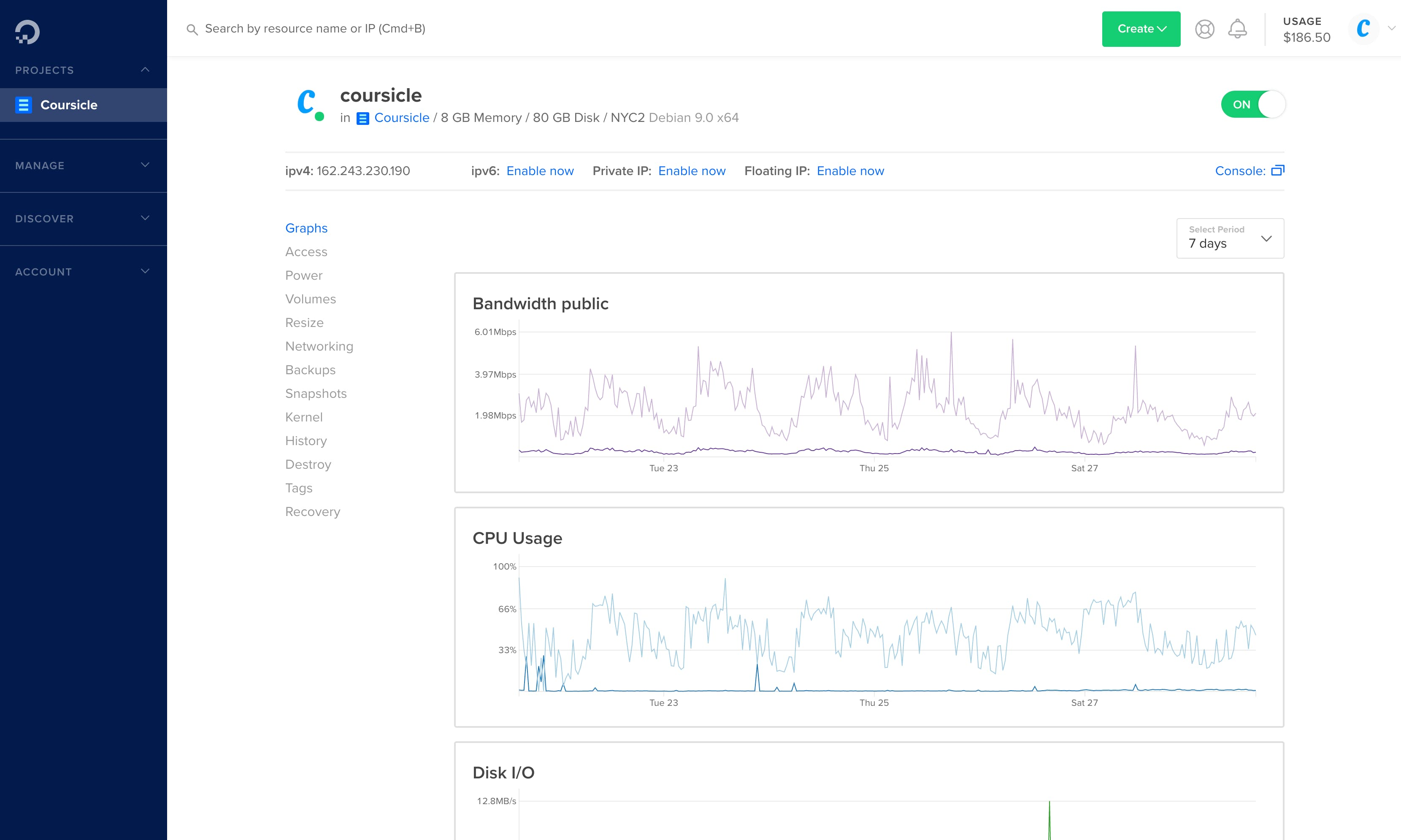 Coursicle DigitalOcean dashboard