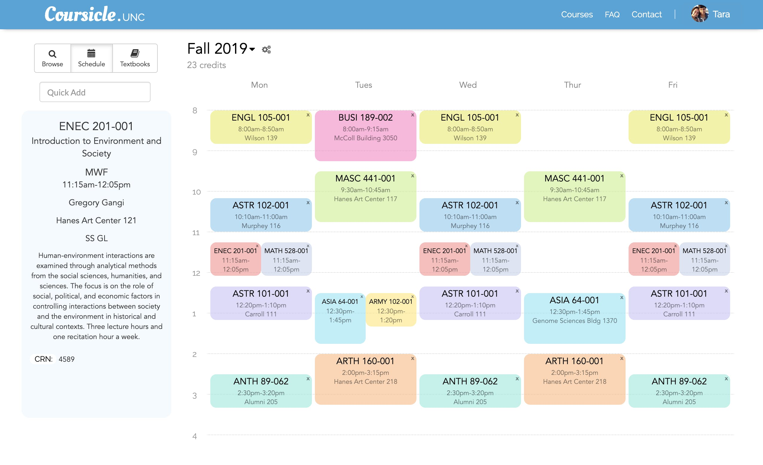Coursicle schedule view