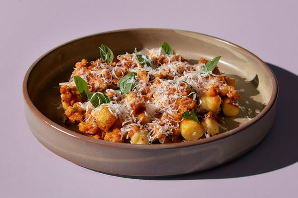 euro's crayfish Bolognese with potato gnocchi